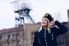 Kobieta czarny węglowy górnik w galówka mundurze Zdjęcia Stock