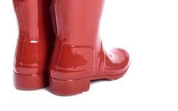 Kobieta Czerwoni Błyszczący Gumowi buty -2 Obrazy Stock