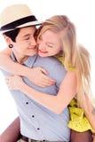 Kobieta daje jej lesbian partnerowi piggyback przejażdżce Obraz Stock