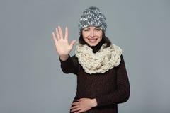 Kobieta daje wysokości pięć gestowi Obrazy Royalty Free