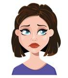 Kobieta deprymuje Żeńska emocja, twarzy wyrażenie Śliczny kreskówki chara Fotografia Stock