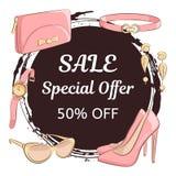 Kobieta dnia lub macierzystego dnia sprzedaży pojęcie Wręcza rysunkowych żeńskich akcesoria, buty, sprzęgło, szkła, kolczyki, pas ilustracji