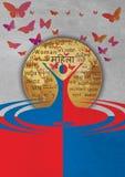 Kobieta dnia szablonu światowy kolorowy motyli tło Fotografia Stock