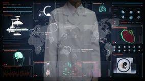 Kobieta doktorski wzruszający cyfrowy ekran, Światowa Medyczna opieki zdrowotnej usługa w diagnozie i traktowaniu światowych, Dal royalty ilustracja