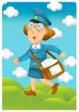 Kobieta dostarcza poczta - ilustracja dla dzieci Obraz Royalty Free