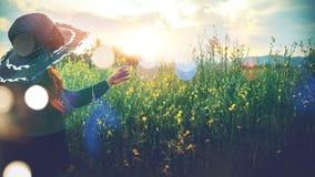 Kobieta dotyka żółtego kwiatu Zdjęcie Stock