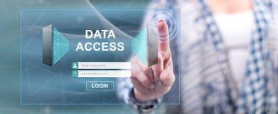 Kobieta dotyka dane dostępu pojęcie obrazy stock