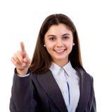 Kobieta dotyka niewidzialnego ekran obraz stock