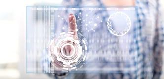 Kobieta dotyka wirtualnego technologii pojęcie obraz royalty free