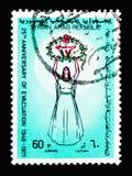 Kobieta, ewakuacja, 25th Rocznicowy seria około 1971, Zdjęcia Stock