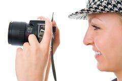 Kobieta fotograf obrazy stock