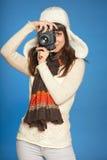 Kobieta fotograf robi obrazkowi ty obrazy royalty free