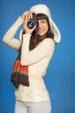 Kobieta fotograf robi obrazkowi ty zdjęcie stock