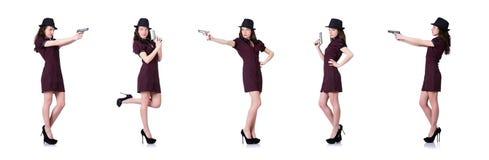 Kobieta gangster z pistolecikiem na bielu fotografia royalty free