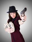 Kobieta gangster z pistolecikiem na bielu Obrazy Royalty Free