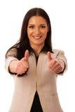 Kobieta gestykuluje sukces z aprobatami i dużym szczęśliwym uśmiechem Zdjęcia Royalty Free