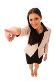 Kobieta gestykuluje sukces z aprobatami i dużym szczęśliwym uśmiechem Zdjęcia Stock
