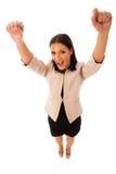 Kobieta gestykuluje sukces z nastroszonymi rękami i dużym szczęśliwym uśmiechem Fotografia Stock