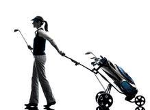 Kobieta golfista grać w golfa sylwetkę obrazy royalty free