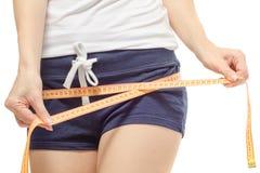 Kobieta gubi ciężaru slimness centymetr zdjęcia royalty free
