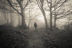 Kobieta gubjąca w ciemnym lesie Fotografia Stock