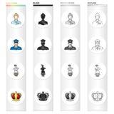 Kobieta, historia, dawność i inna sieci ikona w kreskówce, projektujemy Kamienie, zawód, odzież, ikony w ustalonej kolekci Fotografia Royalty Free