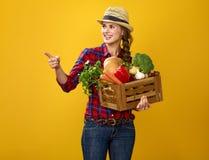 Kobieta hodowca wskazuje przy coś z pudełkiem świezi warzywa Obraz Royalty Free