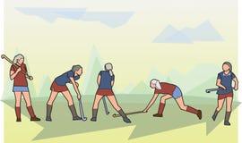 Kobieta hokej na trawie ilustracja wektor