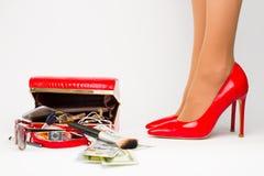 kobieta iść na piechotę czerwonych buty fotografia royalty free