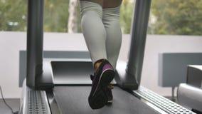 Kobieta iść na piechotę odprowadzenie i bieg na karuzeli w gym Młoda kobieta ćwiczy podczas cardio treningu Cieki dziewczyny wewn Fotografia Stock