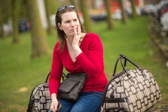 Kobieta i bagaż Obrazy Stock