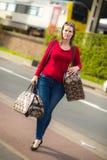 Kobieta i bagaż Zdjęcia Royalty Free