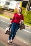 Kobieta i bagaż Obrazy Royalty Free