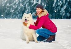 Kobieta i biały Samoyed jesteśmy prześladowanym odprowadzenie wpólnie na zima dniu zdjęcia royalty free