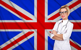 Kobieta i Britain flaga obrazy royalty free