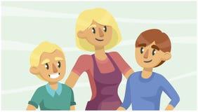 Kobieta i chłopiec uśmiech czarny tło twarze cztery dziewczyny grupują target2400_0_ odosobniony target2403_0_ portreta ilustracja wektor
