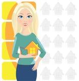 Kobieta i dom Obrazy Stock