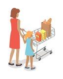 Kobieta i dziewczyna z fura zakupami w Płaskim projekcie Obrazy Stock