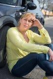 Kobieta i jej samochód Obrazy Stock