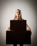 Kobieta i kartony Fotografia Stock