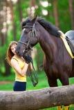 Kobieta i koń Obrazy Royalty Free