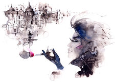 Kobieta i papieros Obrazy Stock