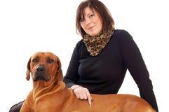 Kobieta i pies Zdjęcia Stock