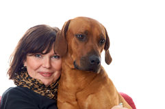Kobieta i pies zdjęcie royalty free