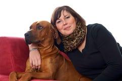 Kobieta i pies obrazy royalty free