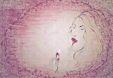 Kobieta i pomadka - handmade malujący ilustracja wektor