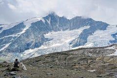 Kobieta i psy siedzi przy ścieżką Grossglockner góra i Pa Zdjęcie Stock