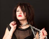 Kobieta i stalowy łańcuch Obraz Royalty Free