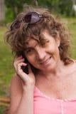 Kobieta I Telefon Zdjęcia Stock