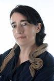 Kobieta i wąż Zdjęcia Royalty Free